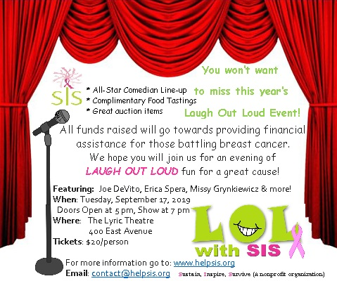 Ninth Annual Laugh Out Loud with SIS (Sustain, Inspire, Survive)